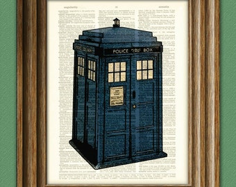 British BLUE POLICE BOX Booth beautifully upcycled vintage dictionary page book art print - Buy 3 get 1 Free