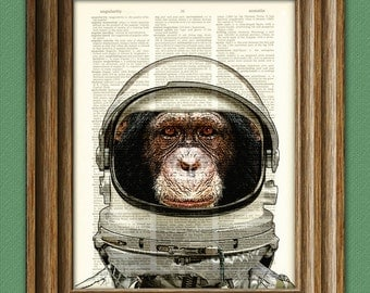 Astronaut Art Print Space Chimp Chimpanzee in helmet illustration beautifully upcycled dictionary page book art print