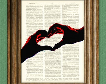 I LOVE YOU Heart hands print over an upcycled vintage dictionary page book art