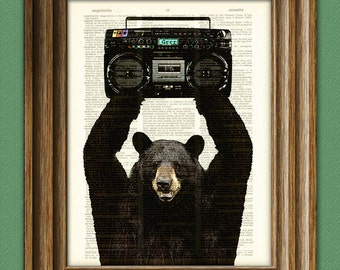 Illustration of Lloyd the BLACK BEAR with a Boombox dictionary page art print