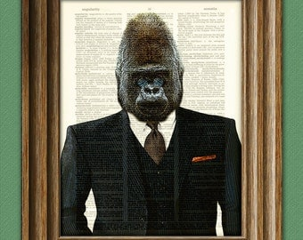 Monkey Business GORILLA in a SUIT and tie illustration beautifully upcycled dictionary page book art print