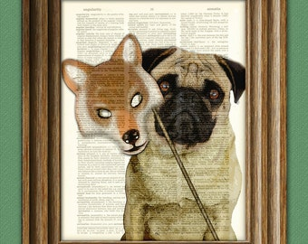 Dog Art Print Halloween Pug with Wolf Mask Costume 'Dottie's Inner Wolf' Dictionary Page art print
