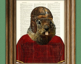 Gopher Art Print Football Gopher with old school football helmet illustration beautifully upcycled dictionary page book art print
