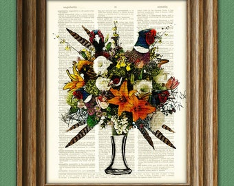 Pheasant Art Print A Bouquet of Pheasants illustration Animal Groups Collection upcycled dictionary page book art print