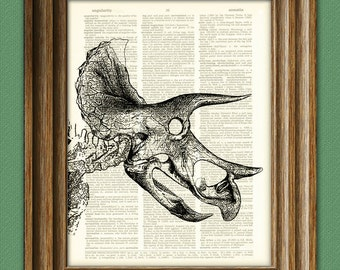 Triceratops dinosaur skeleton skull art print beautifully upcycled history animal dictionary page book art print