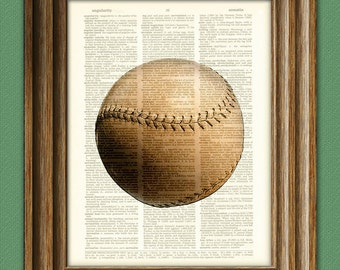 Vintage Baseball print over an upcycled vintage dictionary page book art