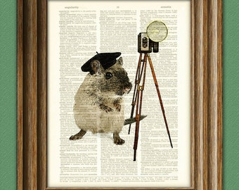 """Mouse Art Print Photographer Mouse """"Did someone say cheese"""" illustration beautifully upcycled dictionary page book art print"""