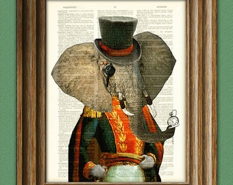 Elephant Art Print The Timekeeper Never Forgets Steampunk illustration beautifully upcycled dictionary page book art print