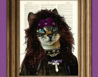 """80's Heavy Metal Cat """"Axl Glitterpuss"""" Cat illustration beautifully upcycled dictionary page book art print Hair Metal"""