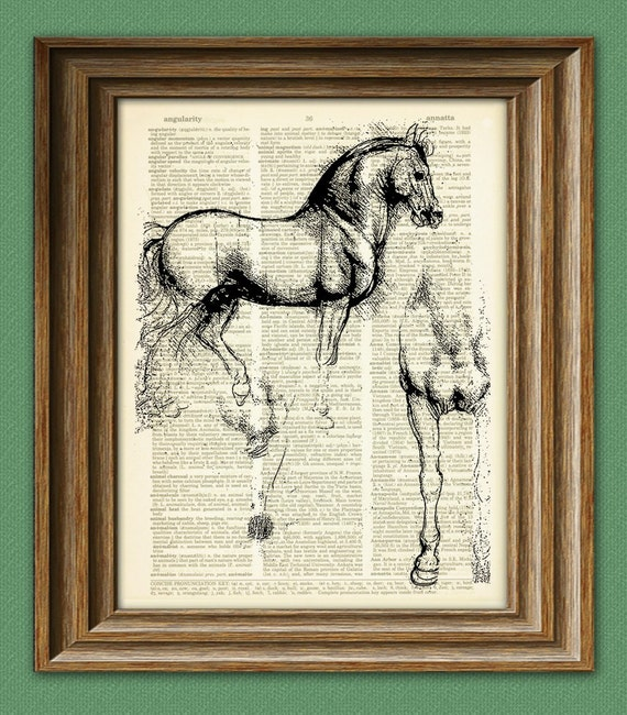 Horse Art Print Study of Horse from Leonardo Da Vinci sketch on vintage dictionary page book art print Davinci
