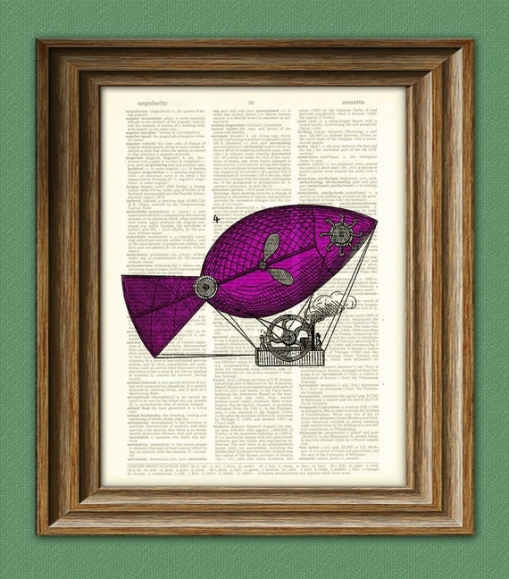 Fish shaped Dirigible Hot Air Balloon awesome upcycled vintage dictionary page book art print
