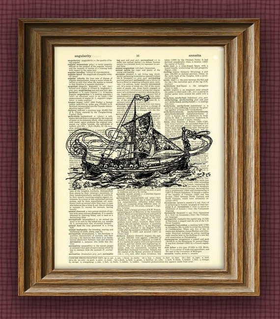 Norse VIKING DRAGON BOAT ship beautifully upcycled vintage dictionary page book art print