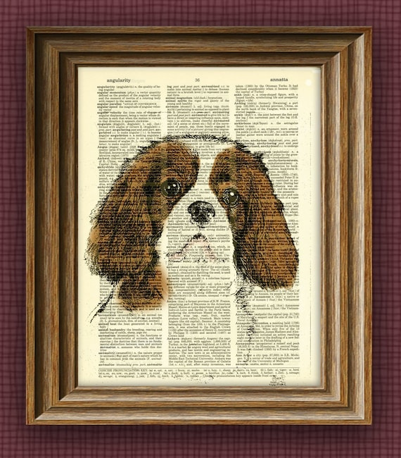 CAVALIER KING CHARLES dog beautifully upcycled vintage dictionary page book art print