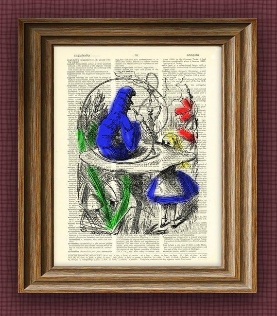 Alice In Wonderland Caterpillar illustration beautifully upcycled dictionary page book art print