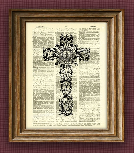 ANTIQUE CHRISTIAN CROSS beautifully upcycled vintage dictionary page book art print