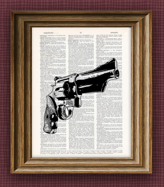 Smith and Wesson revolver gun beautifully upcycled dictionary page book art print 8.5 x 11