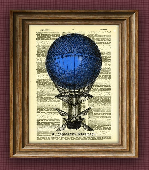 blue DIRIGIBLE Aerostat illustration beautifully upcycled dictionary page book art print 8.5 x 11 number 2