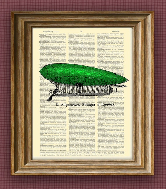 green DIRIGIBLE Aerostat illustration beautifully upcycled dictionary page book art print 8.5 x 11 number 3