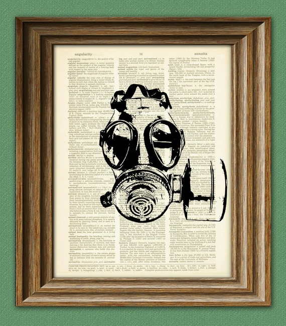 GAS MASK illustration beautifully upcycled dictionary page book art print