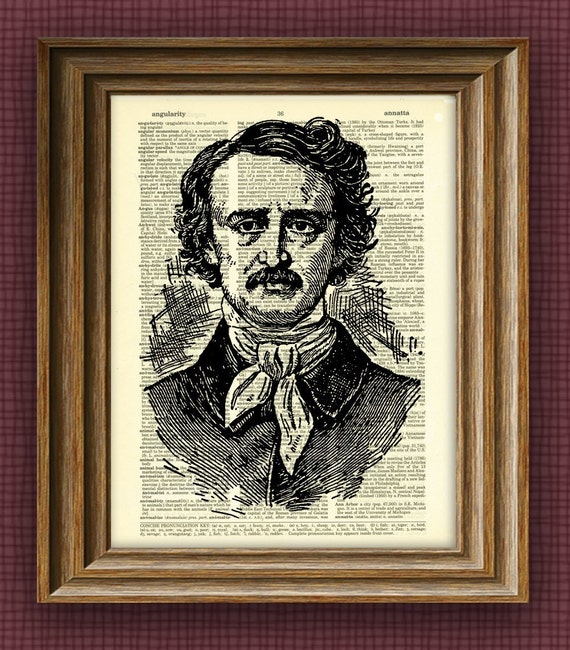 EDGAR ALLAN POE print illustration beautifully upcycled dictionary page book art print