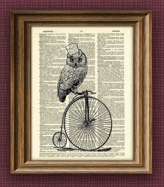 TOP HAT OWL on a Penny Farthing Bicycle bike print over an upcycled vintage dictionary page book art