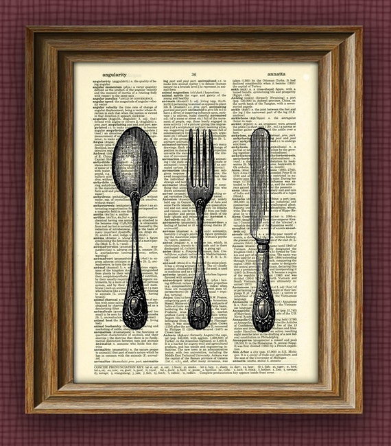 VICTORIAN UTENSILS knife fork spoon print over an upcycled vintage dictionary page book art