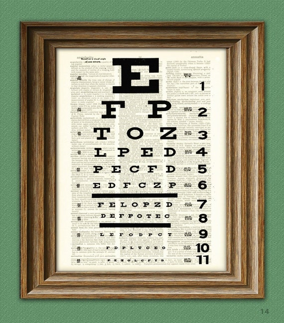 EYE CHART art print awesome upcycled vintage dictionary page book art print