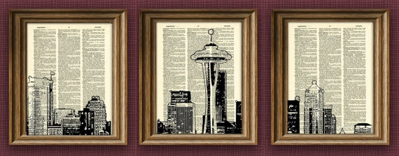 Seattle Skyline 3 pack dictionary prints awesome upcycled vintage dictionary page book art print