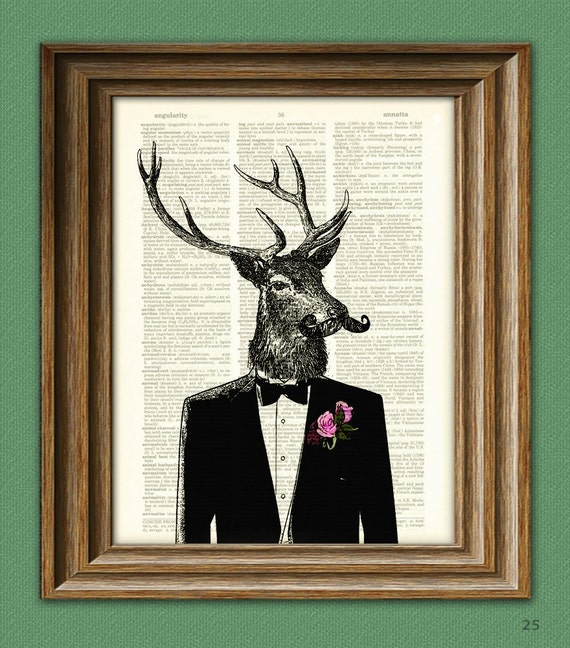Well-Dressed Deer in a Tux with a Manly Mustache illustration beautifully upcycled dictionary page book art print