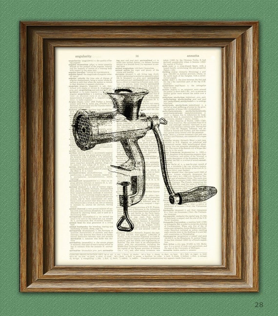 Kitchen MEAT GRINDER beautifully upcycled dictionary page book art print