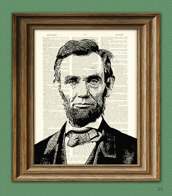 PRESIDENT ABRAHAM LINCOLN illustration beautifully upcycled dictionary page book art print