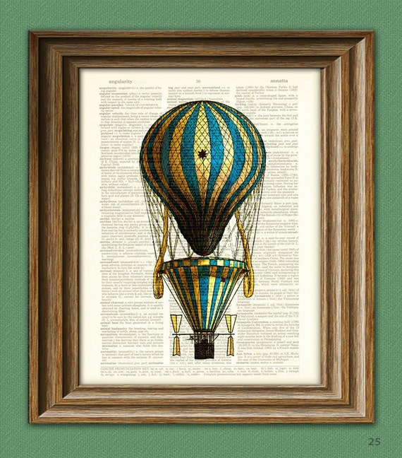 Hot Air Balloon Art Print blue and yellow striped Hot Air Balloon voyage illustration dictionary page book altered art print