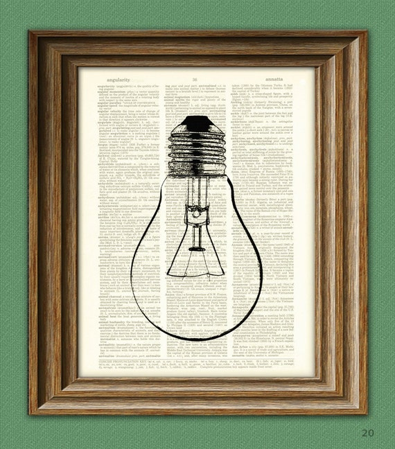 Cool Lightbulb altered art dictionary page illustration book print