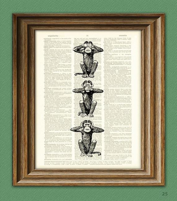 Monkey See No, Speak No, Hear No Evil illustration beautifully upcycled dictionary page book art print