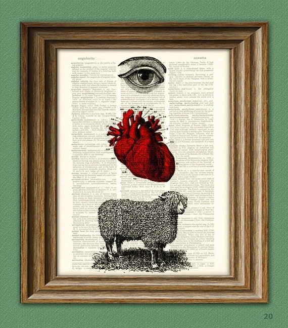 EYE HEART EWE I love You illustration beautifully upcycled dictionary page book art print -- our original design