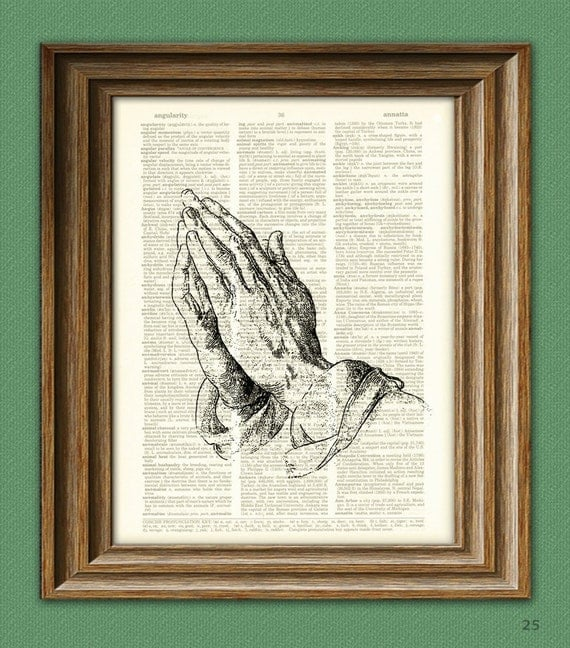 Albrecht Durer PRAYING HANDS beautifully upcycled vintage dictionary page book art print