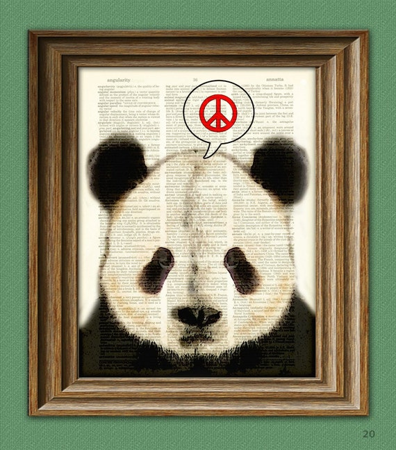 PEACE PANDA BEAR beautifully upcycled vintage dictionary page book art print