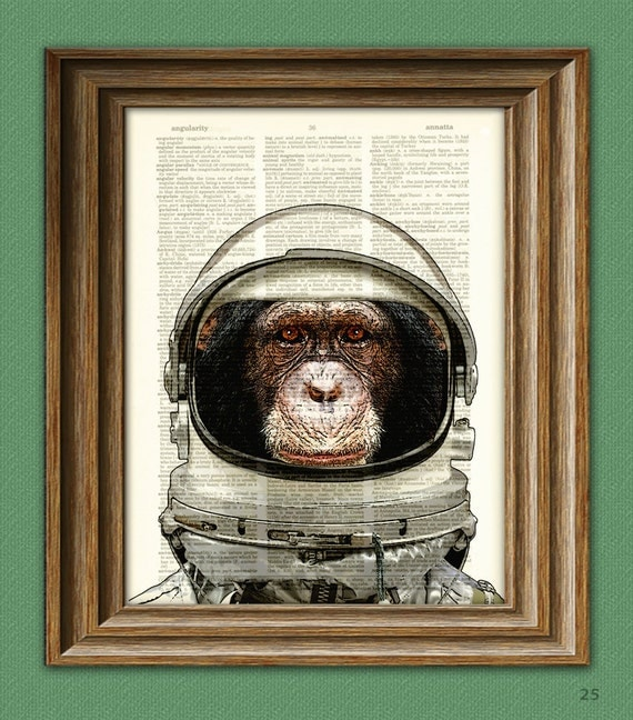 Space Chimp Astronaut Chimpanzee in helmet illustration beautifully upcycled dictionary page book art print