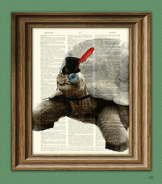 Galapagos Tortoise art print Greg in top hat turtle illustration beautifully upcycled dictionary page book art print