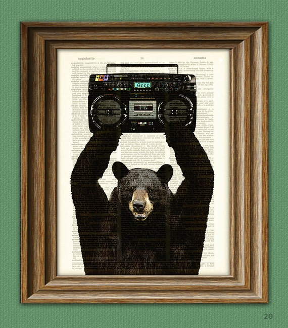 Lloyd the BLACK BEAR with a BOOMBOX dictionary page art print