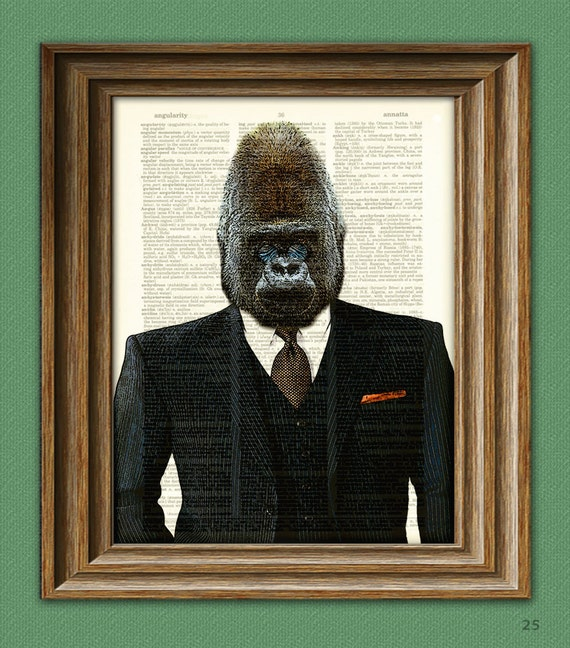 monkey business gorilla in a suit and tie illustration