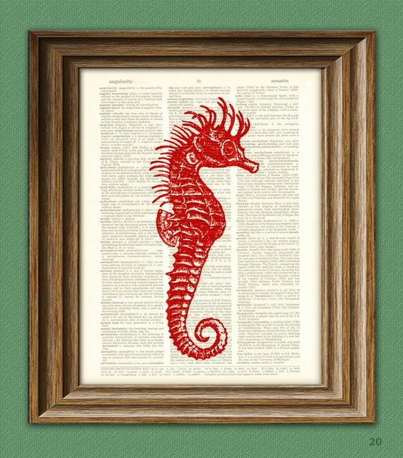 Seahorse Art Print red seahorse beautifully upcycled print over dictionary page book art