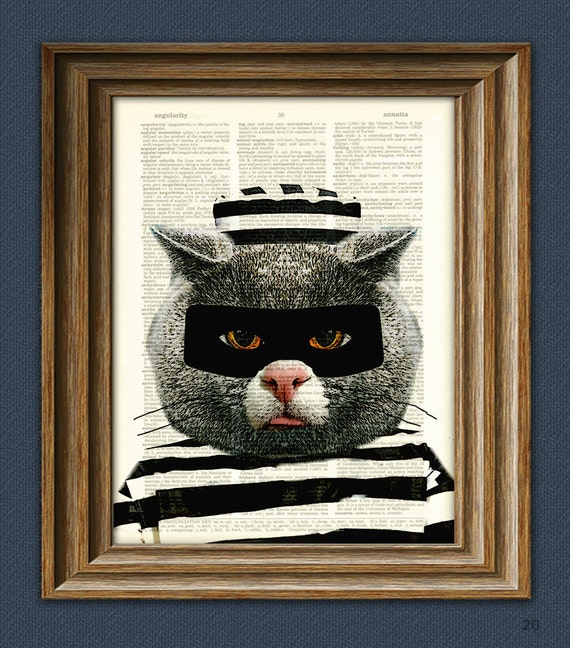 The Cat Burglar art print Cat in prisoner clothes upcycled dictionary page book art print