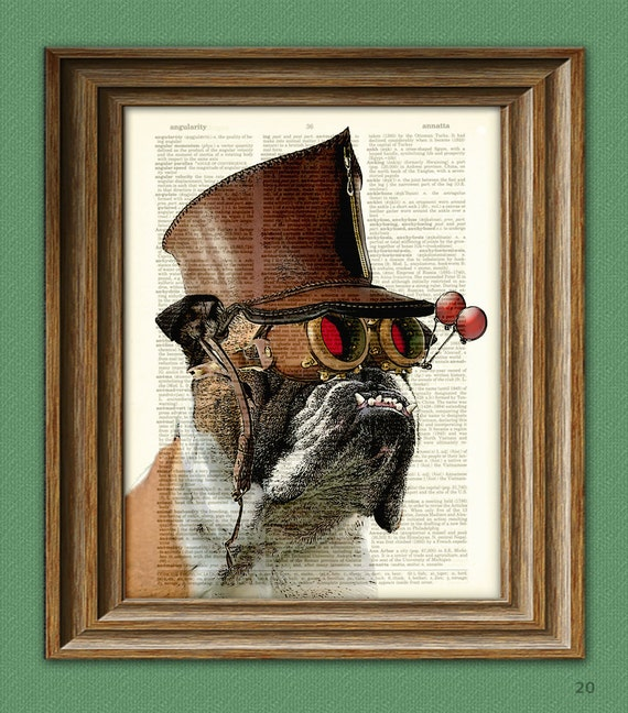 "Bulldog Art Print Steampunk Dog ""The Marquis De Butch"" illustration English Bulldog dictionary page book art print"