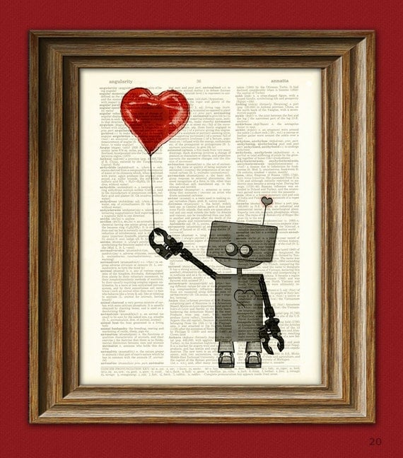 The Love Bot 3000 ROBOT geeky Valentines Day balloon art print upcycled vintage dictionary page book art print