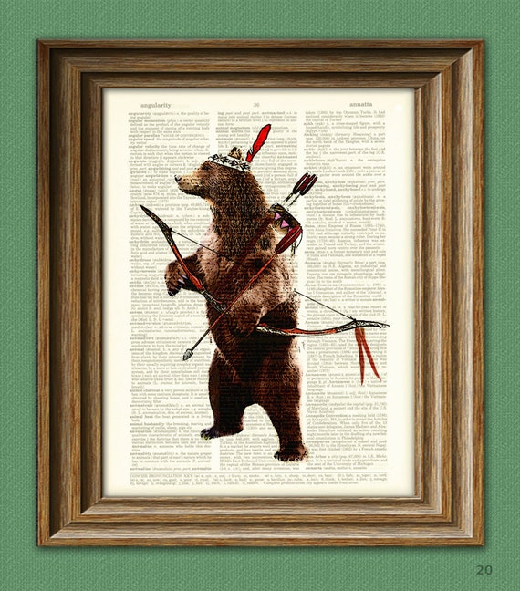 Standing Bear Indian Hunter with a Bow and Arrow dictionary page art print