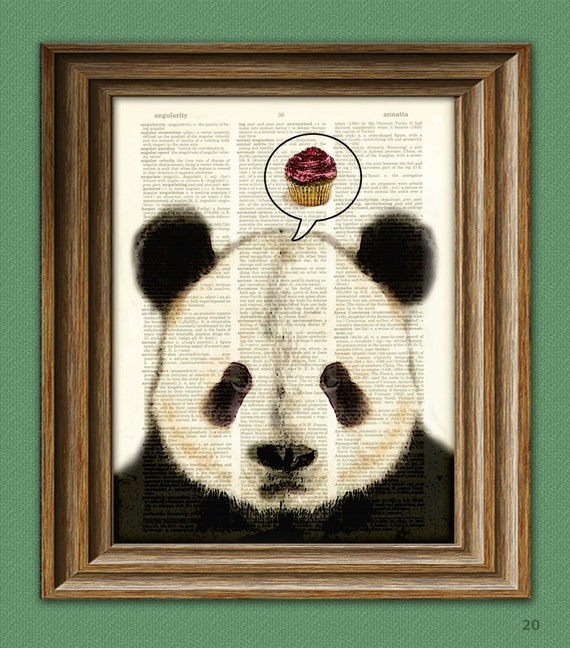 PANDA WANTS CUPCAKES Panda Bear beautifully upcycled vintage dictionary page book art print