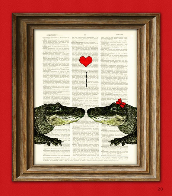 Alligator Art Print Romantic Alligator COUPLE in love with heart altered art dictionary page illustration book print