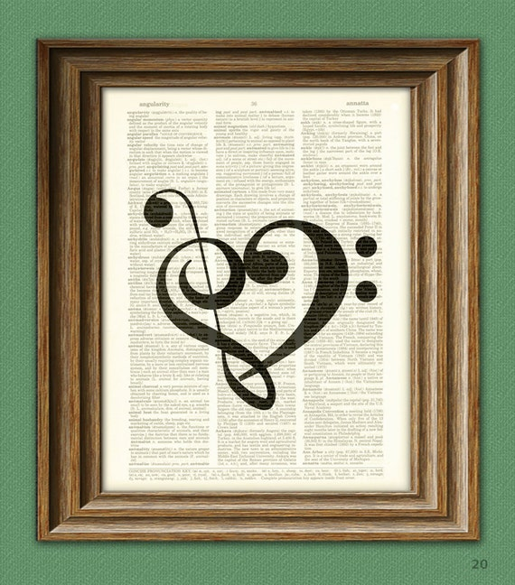 Treble Clef and Bass Clef heart print altered music art dictionary page illustration book print