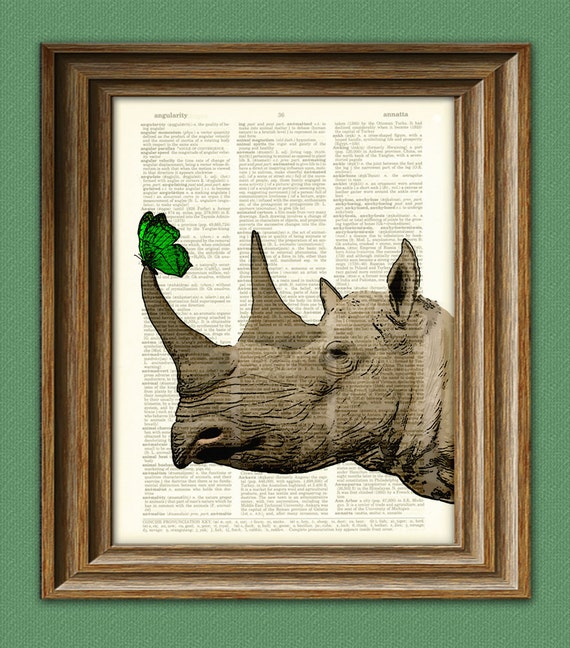 Rhinoceros Art Print Rhino with Butterfly illustration beautifully upcycled dictionary page book art print